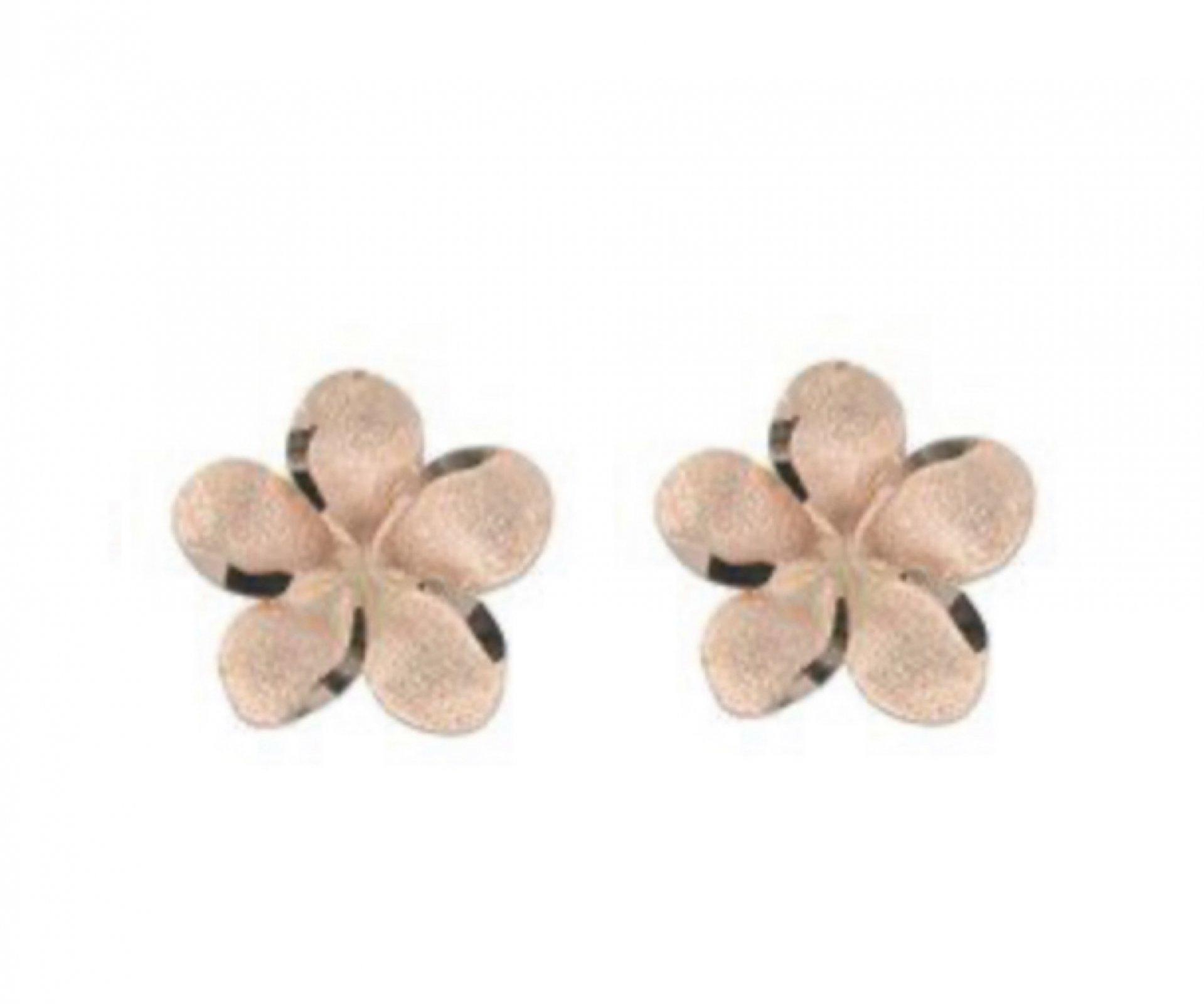 Gold Ear > Plumeria Flower Post Earrings (7mm)  - Rose Gold