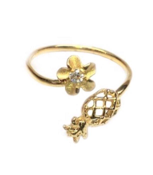 Ring > Plumeria Flower & Pineapple Ring / Toe Ring - Gold