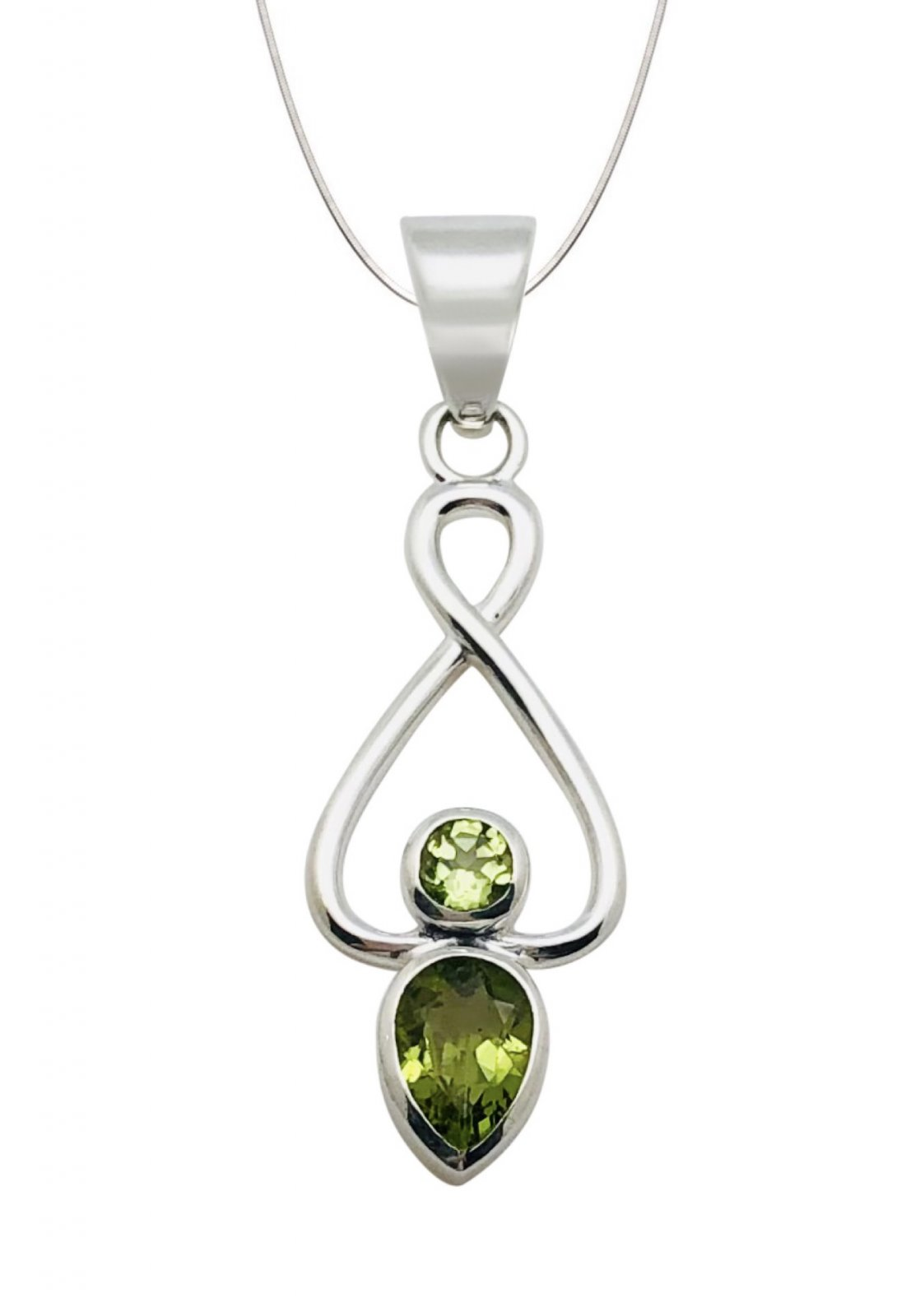 Peridot Round &/Tear Stone Shape Necklace (with Chain)