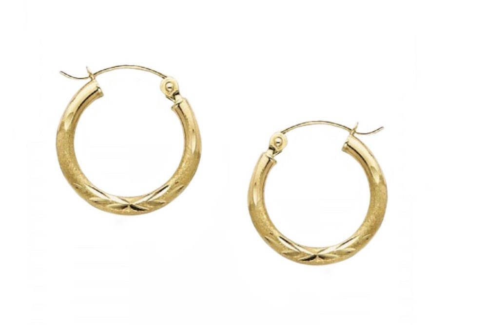 Gold Ear > Plumeria Hoop Earring