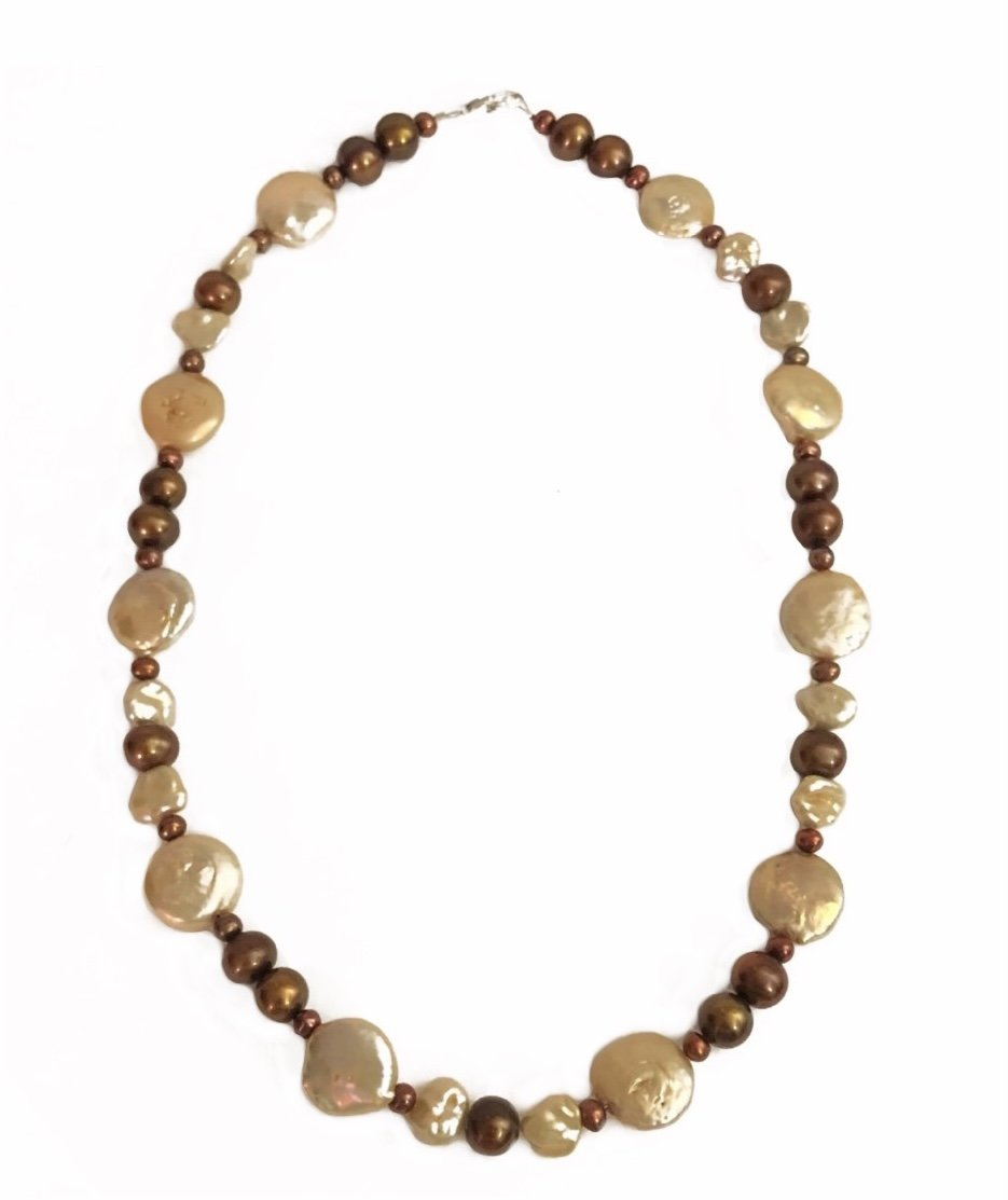 Pearl Chocolate & Champagne tone Colors Necklace