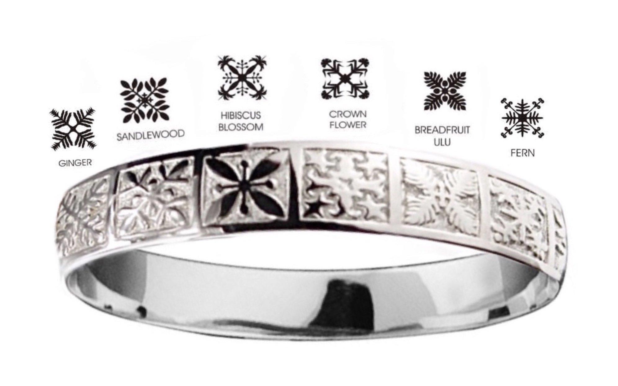 Hawaiian Bangle Bracelet   </p> Quilt <p>(Widths Available: 8mm - 18mm)