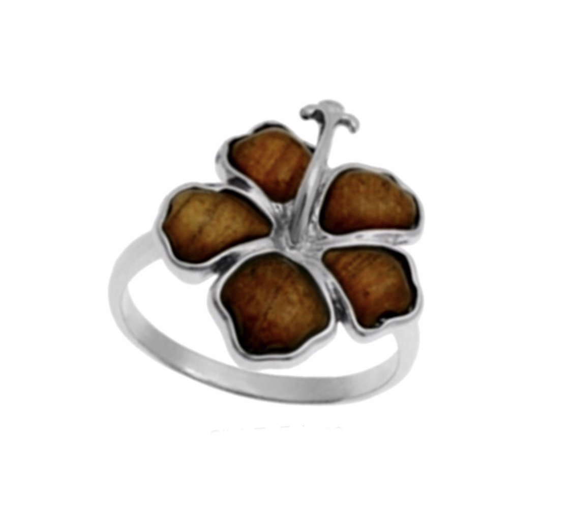 Koa Wood Hibiscus Flower Ring