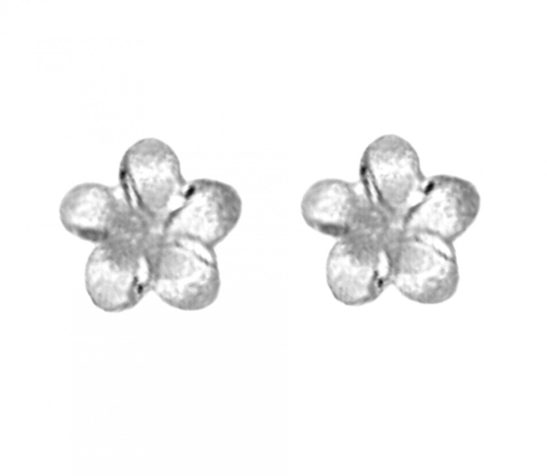 Gold Ear > Plumeria Post Earring (7mm - White Gold)