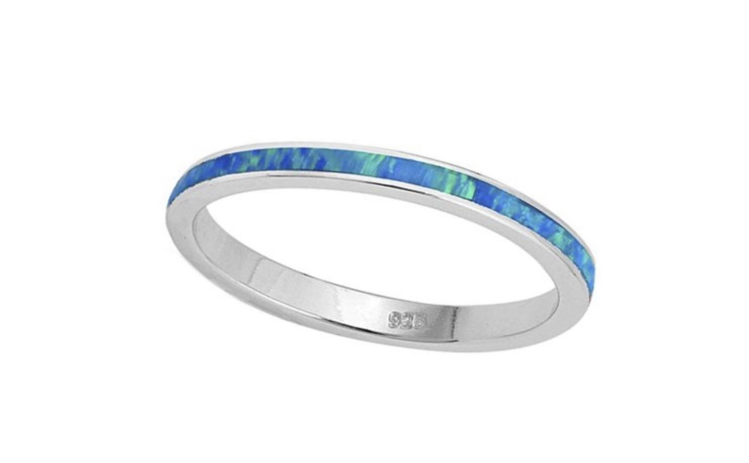 Ring > Opal Sterling Silver Ring - Blue </p>(4mm Wide)