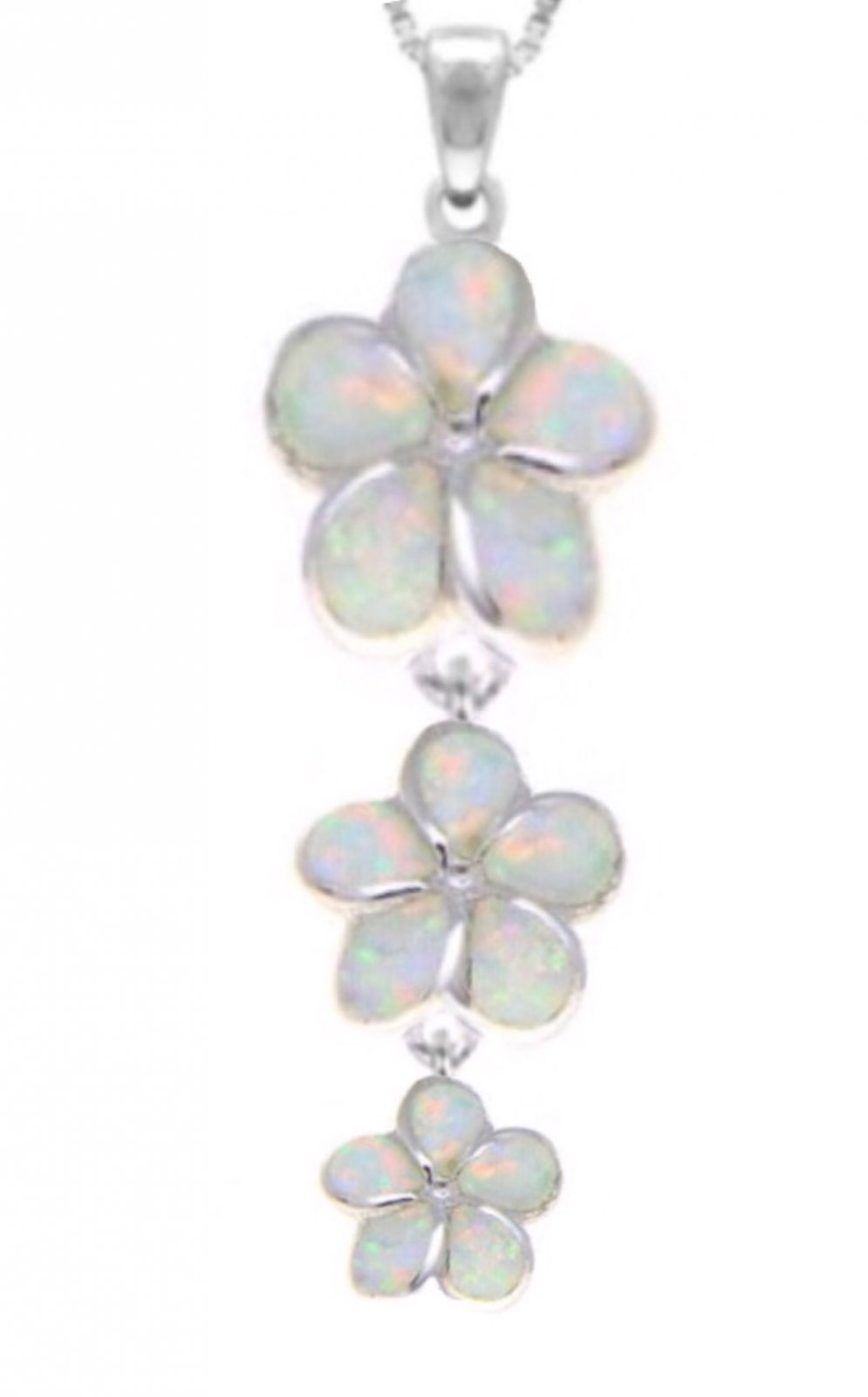 Opal Plumeria Triple Flower Necklace With Chain White 112667