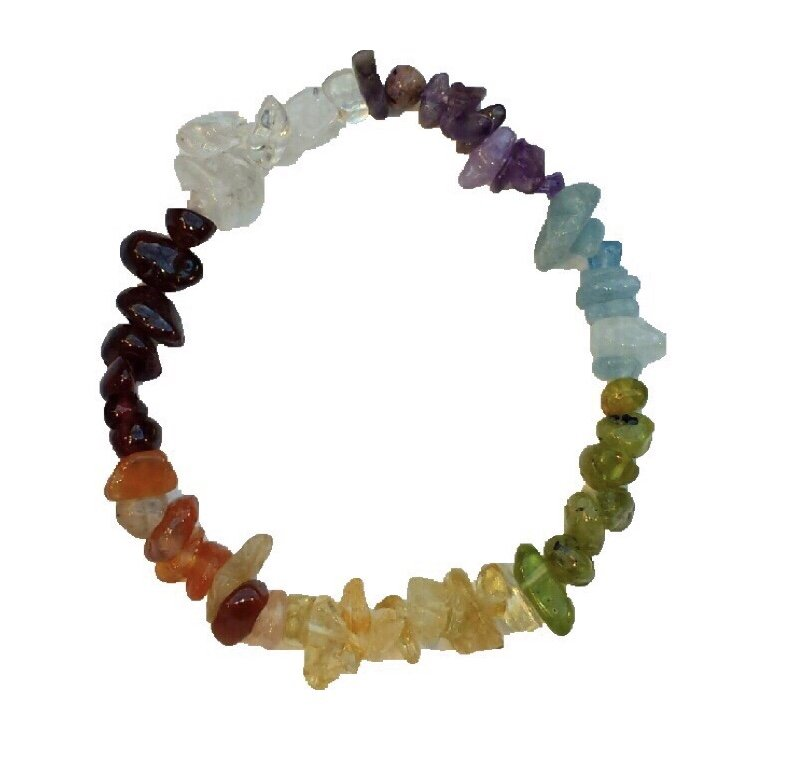 Brac > Peridot Multi Stone Chip Nugget Stretch Bracelet