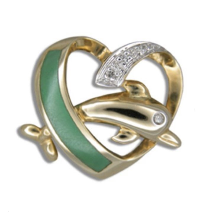 Gold Pend > Dolphin Jumping in Heart with Green Jade & Diamond Pendant
