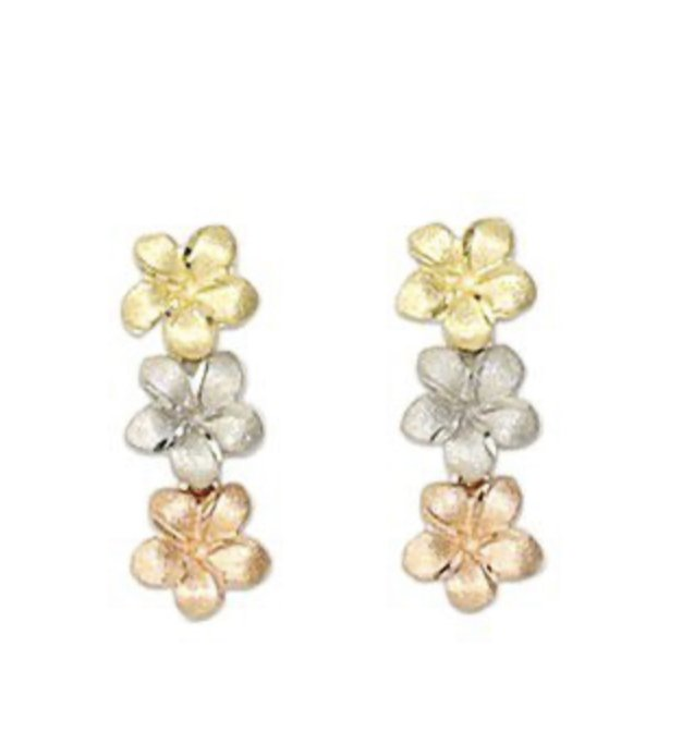 Gold Ear > Plumeria Flower Dangle earring