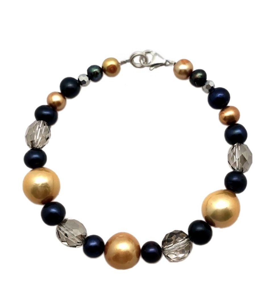Brac > Pearl Golden tone, Black & Crystals Bracelet