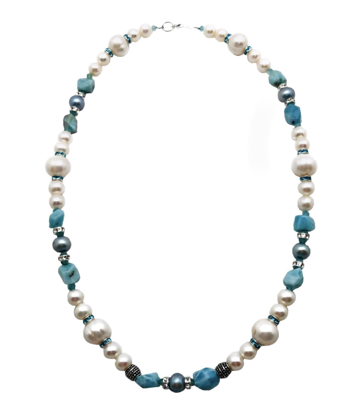 Larimar with Pearl White & Crystals Necklace