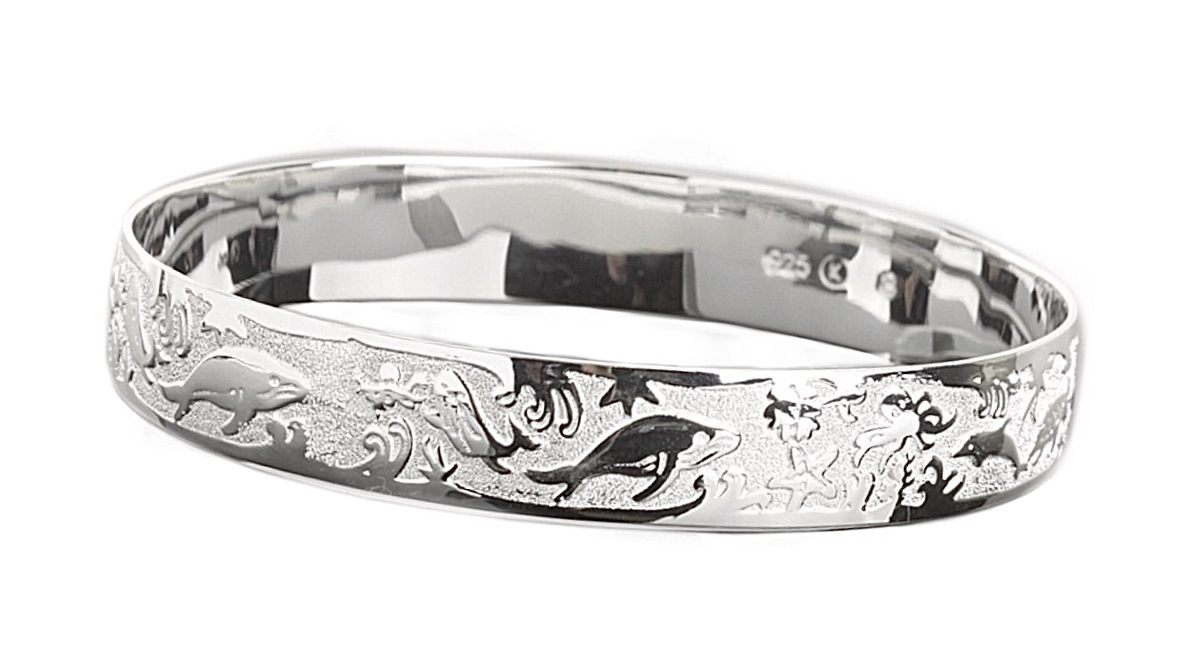 Hawaiian Bangle Bracelet   <br />Turtle, Dolphin & Sea Life <br />(Widths Available: 10mm - 18mm)