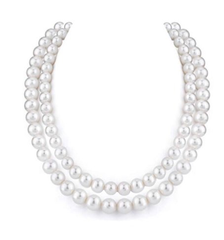 Pearl Double Strand White Necklace  (9mm)