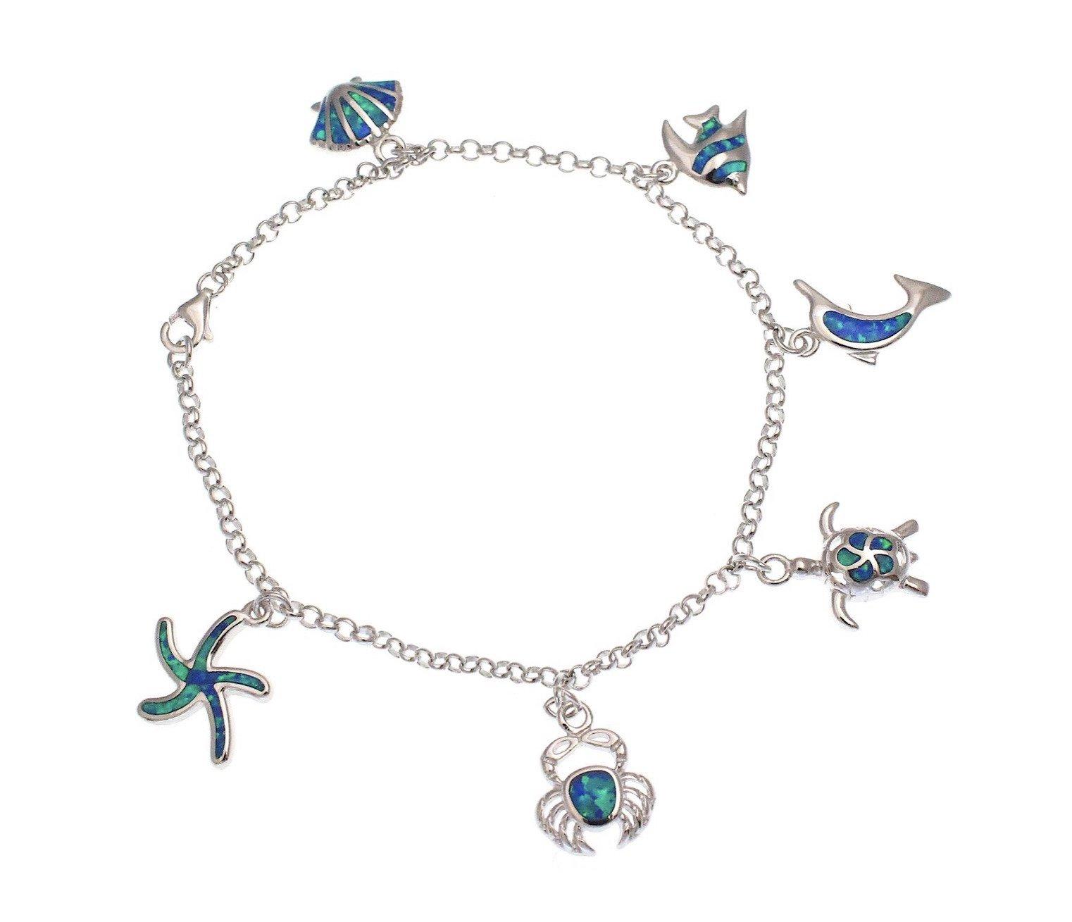 Opal SeaLife Bracelet </p>(Turtle, Dolphin, Crab, Fish, SeaShell & StarFish)