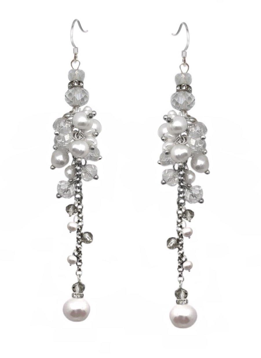 Ear > Pearl Dangle Chandelier Earring - White