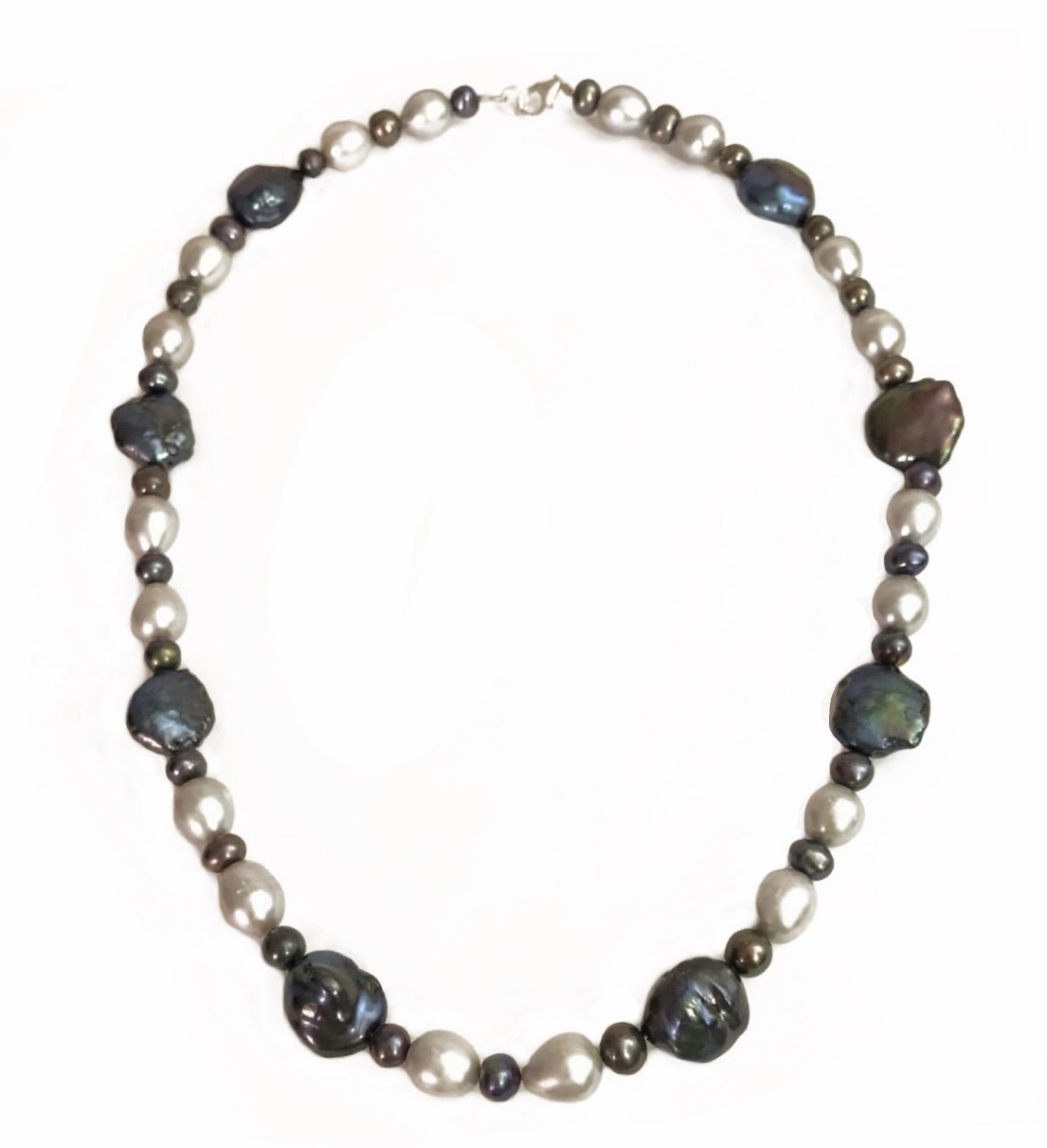 Pearl Black & Silver tone Colors Necklace