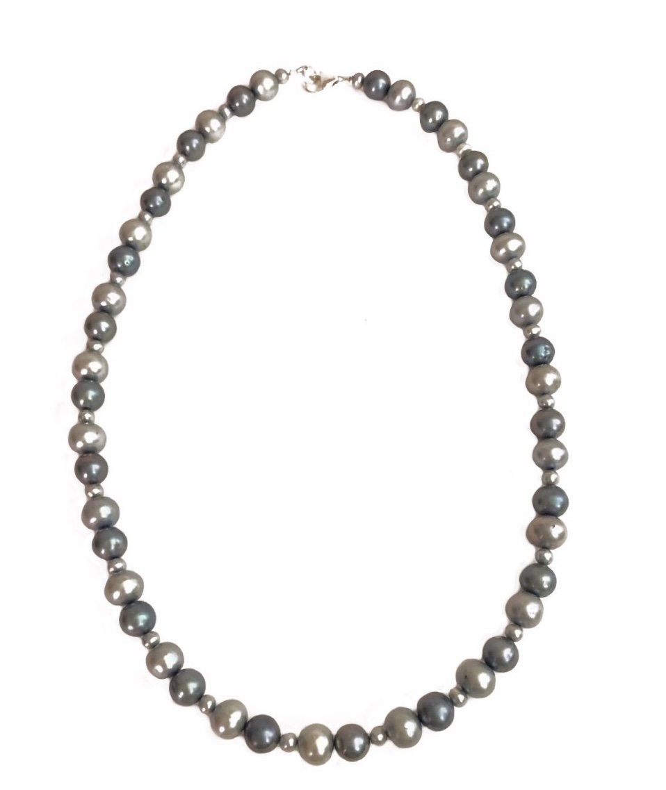 Pearl Light Blue & Silver tone Colors Necklace