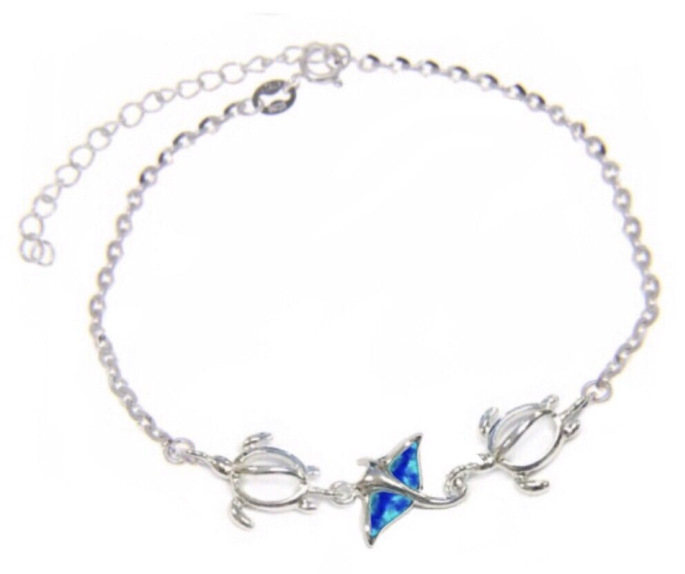 Opal Manta with Turtles Anklet