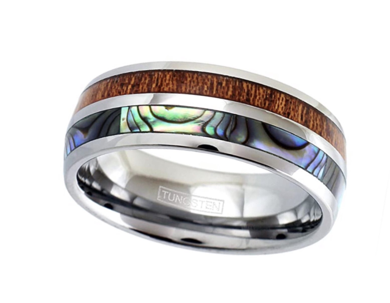 Koa Wood & Abalone Shell Ring