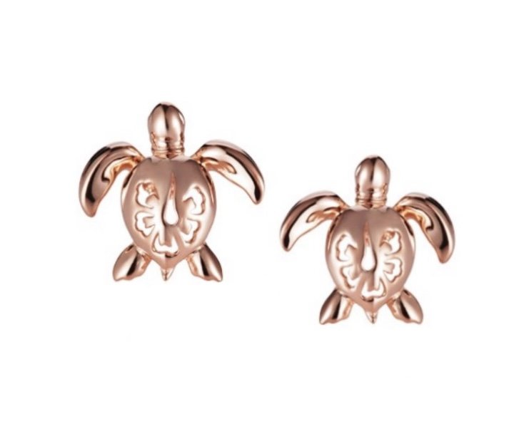 Turtle with Hibiscus Flower Earring (14kt Gold)