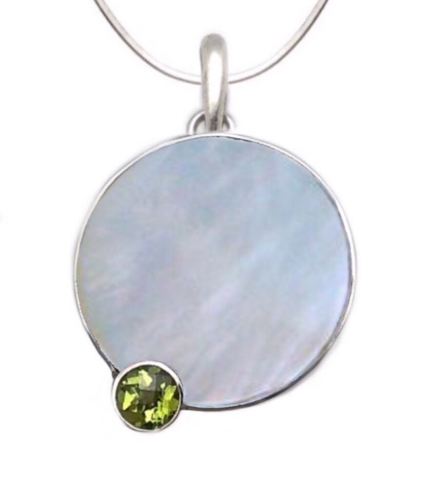 Peridot Round Stone on Mother of Pearl Shell Sunset design Necklace (with Chain)