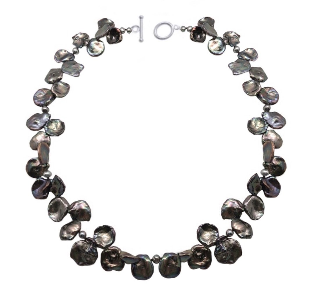 "Pearl Black Petal Keshi Necklace (18"")"