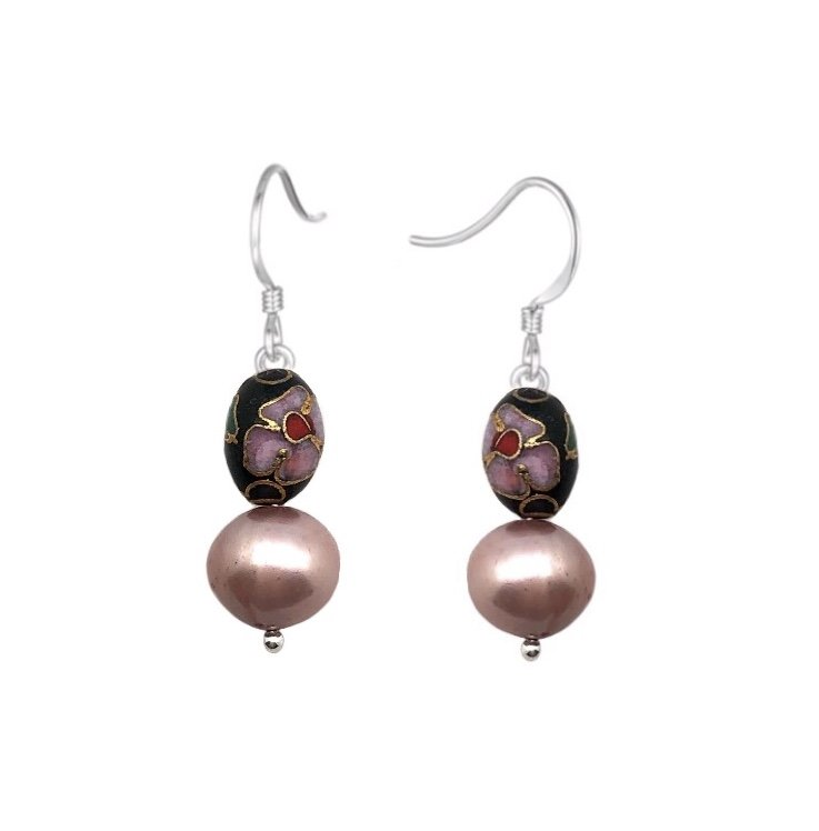 Ear > Pearl Rose Pink & Black with Crystals & cloisonne beads dangle earrings