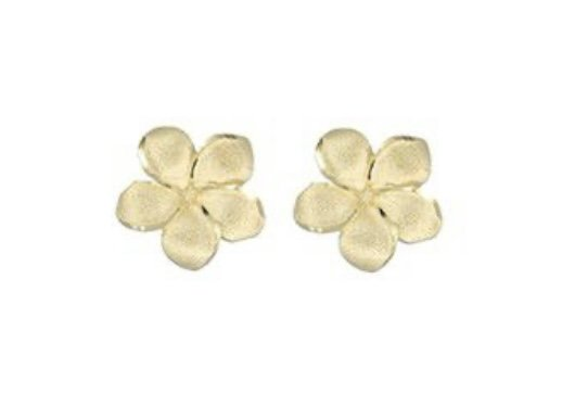 Gold Ear > Plumeria Flower Post Earrings (10mm)