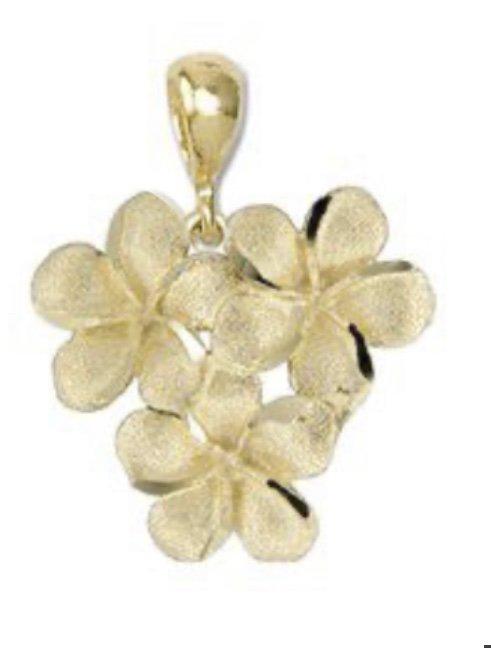 Gold Pend > Plumeria Bouquet Heart Shape Pendant
