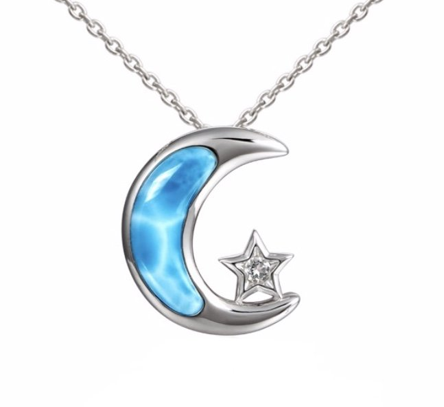 Larimar Moon & Topaz Star Necklace (with Chain)