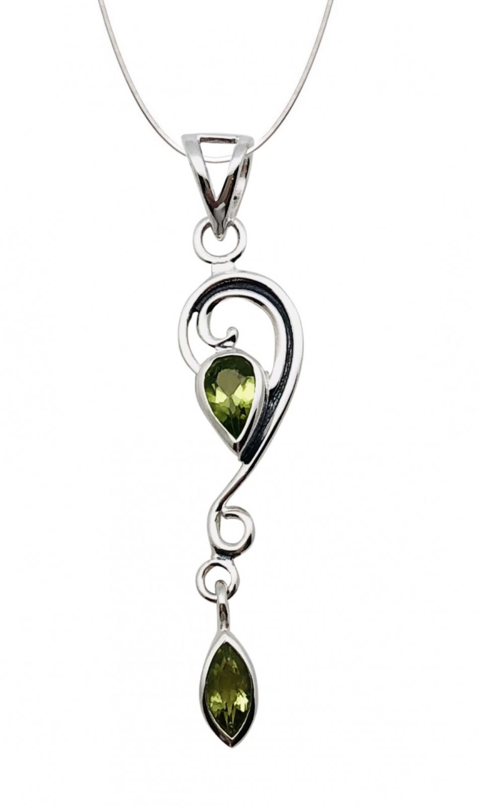 Peridot Tear & Marquee Stone Shape Necklace (with Chain)