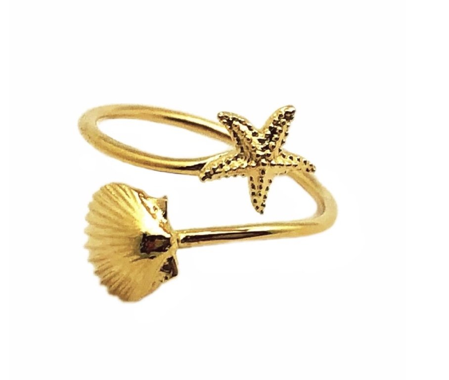 Ring > Sea Shell & Starfish Ring / Toe Ring - Gold