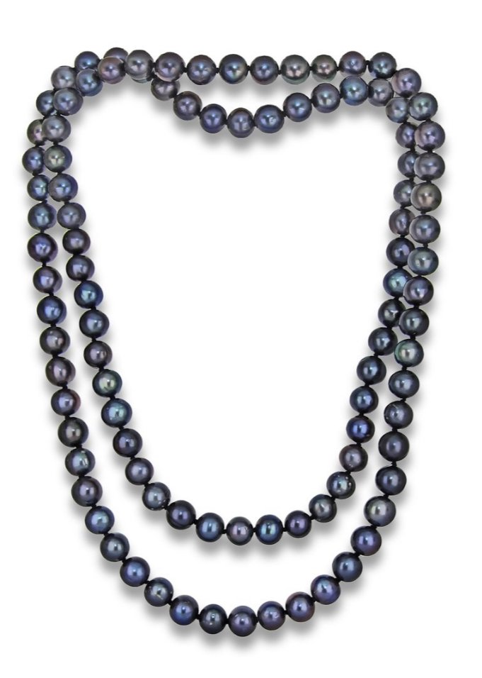 Pearl Endless Long Black Necklace (9mm / 50 Length)