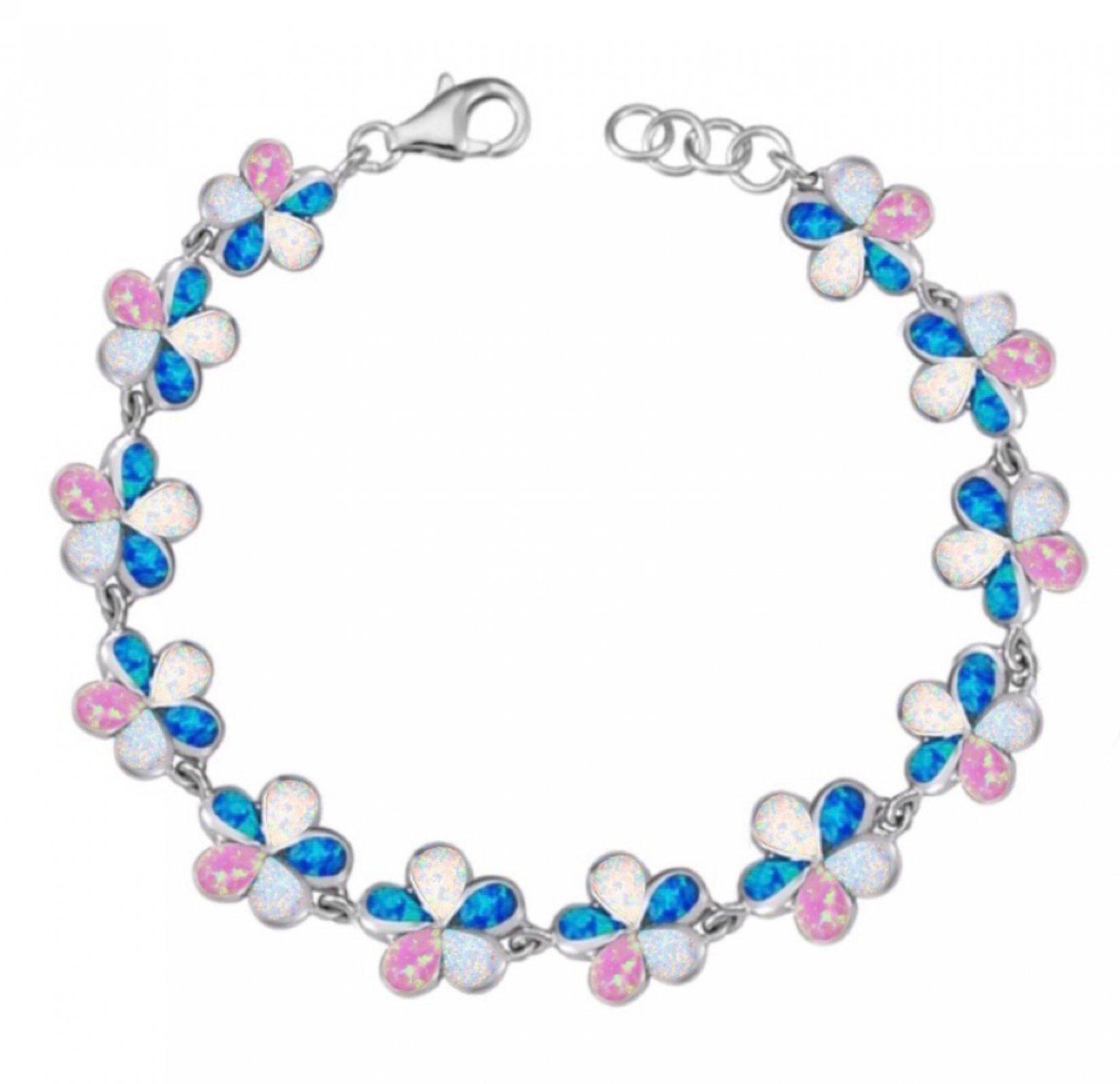 Opal Plumeria Flower Bracelet - Tri-Color