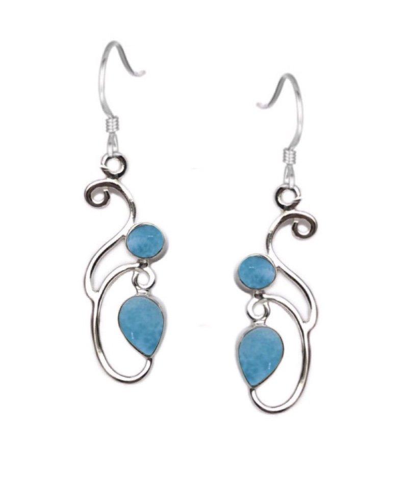 Ear > Larimar Swirl Design Dangle Earring