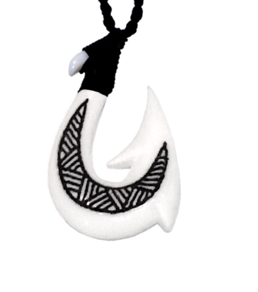Fashion > Hawaiian Fish Hook Bone Tatu Necklace