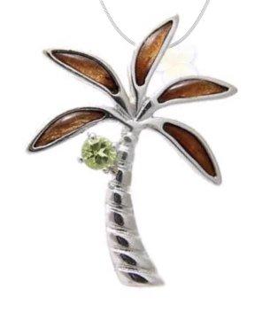 Koa Wood PalmTree w/ Peridot Necklace (with Chain)