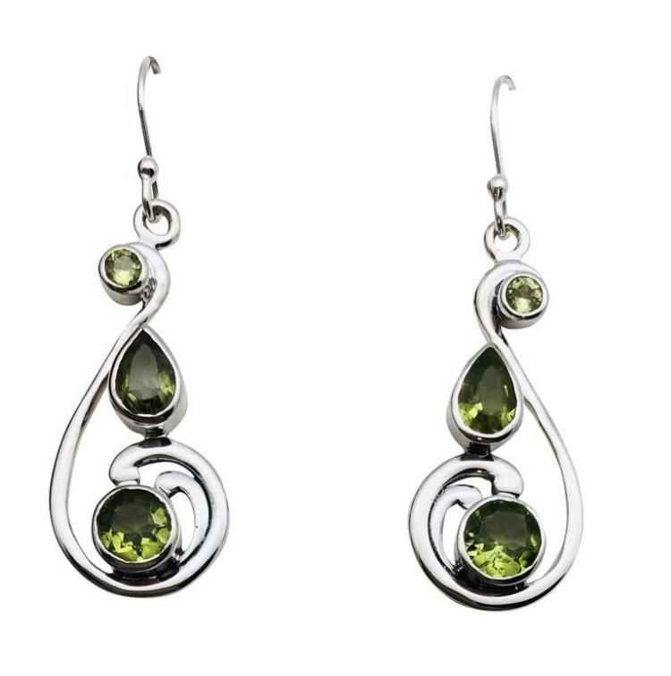 Ear > Peridot Tear & Round Drops Dangle Earring