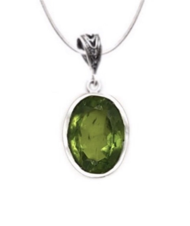 Peridot Round Necklace (with Chain)