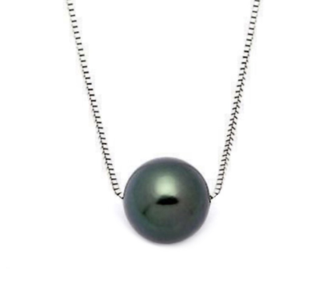 Pearl Floating on Chain Necklace (Black)