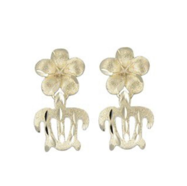 Gold Ear > Plumeria Flower with Turtle Dangle earring