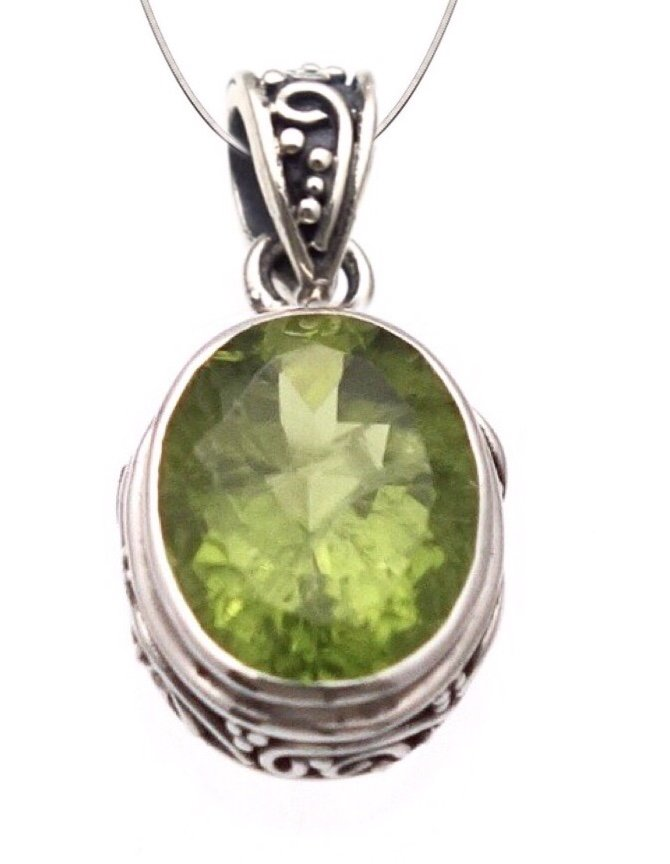 Peridot Filigree Oval Necklace (with Chain)
