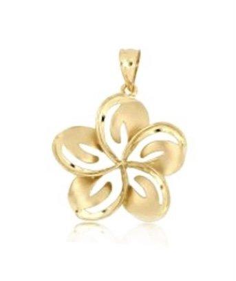 Gold Pend > Plumeria Flower Cut-Out Wavy Pendant