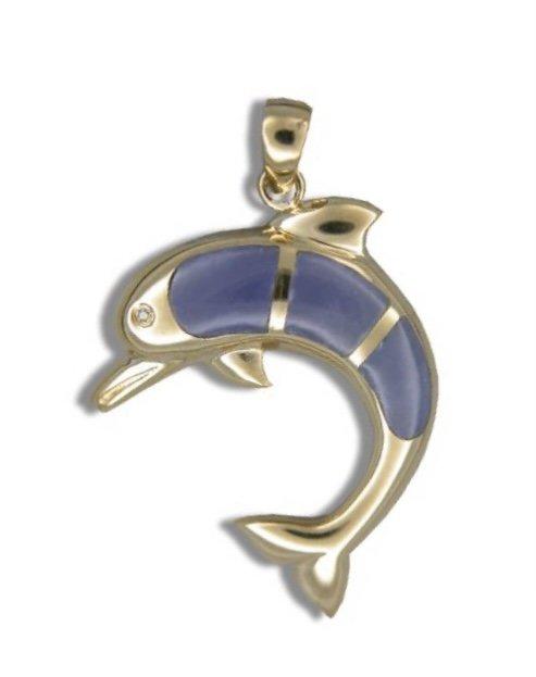 Gold Pend > Dolphin with Purple Jade & Diamond Eye Pendant