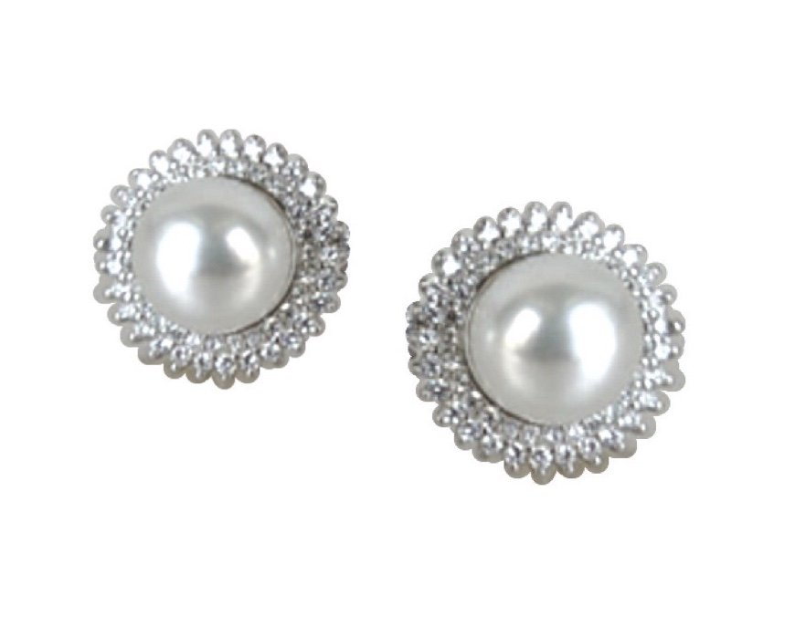 Ear > Pearl White CZ Post Earring