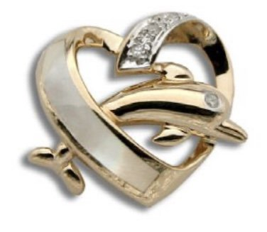 Gold Pend > Dolphin Jumping in Heart with Mother of Pearl & Diamond Pendant