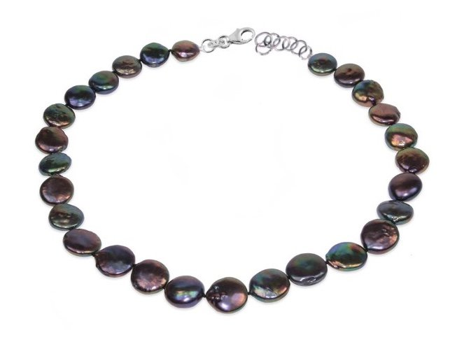 """Pearl Coin Necklace - Black (18"""")"""