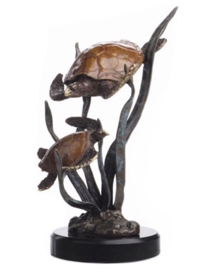 Statue > Turtle Pair Family on Marble base