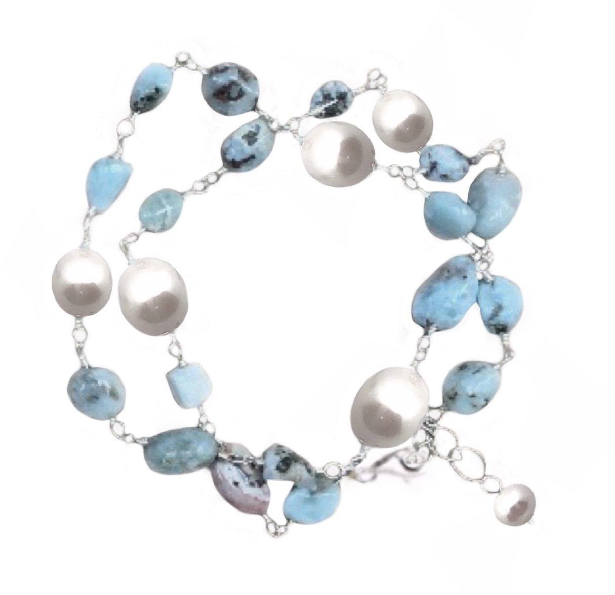 Brac > Larimar & Pearl Bracelet