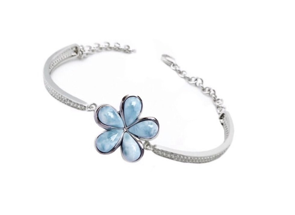 Larimar Plumeria Flower with White Topaz Bracelet